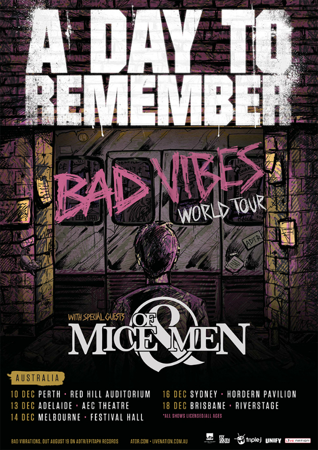 A Day To Remember 2016 Tour Poster