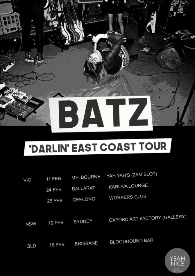 BATZ darlin east coast tour poster