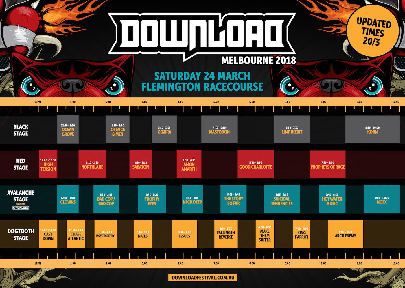 Download Festival Melbourne Announce Set Times |
